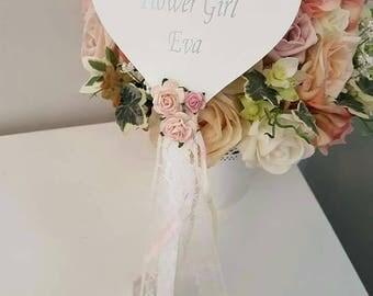 Flower girl wand, heart flowergirl wand,  flowergirl gift, flowergirl present, vintage style wand