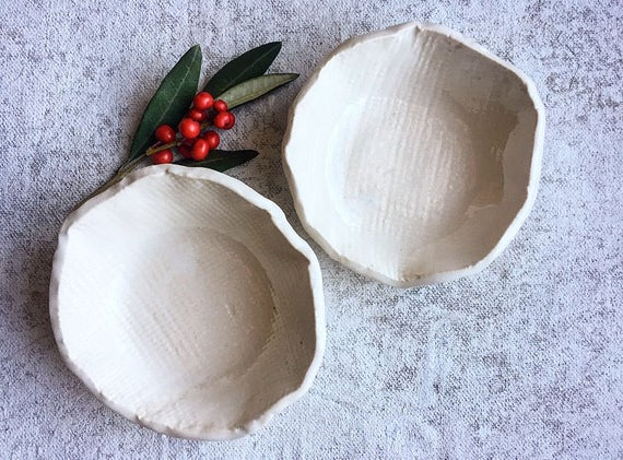 Winter White Small Porcelain Bowls