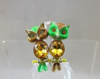 Adorable Vintage Owl Pin - Girl and Boy - Branch Sitting