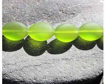 Cultured sea glass oval puffed  beads, olive 18x13 mm, 6 pcs