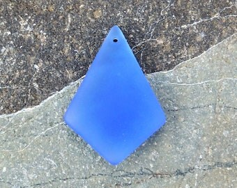 Cultured Sea Glass diamond pendant light sapphire,  37x27mm