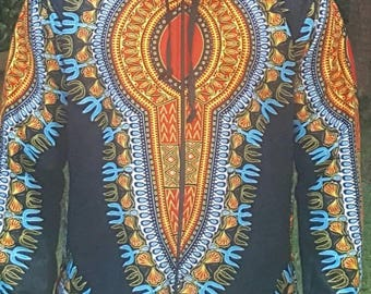 Dashiki hooded jacket lined with velvet