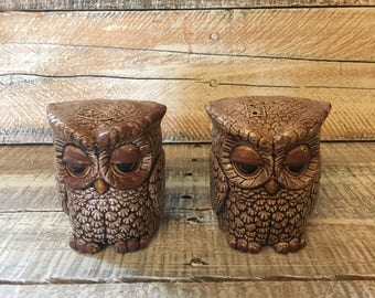 Owl Salt and Pepper Shakers, Vintage Ceramic Salt and Pepper Shakers