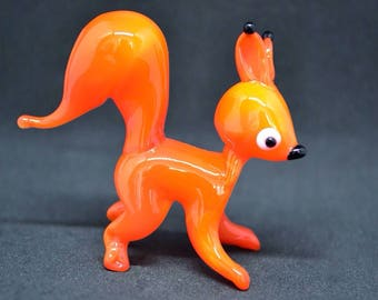 Orange Glass squirrel figurine animals glass squirrel orange miniature art glass toy murano squirrel animals tiny murano squirrel figure gla