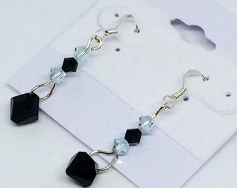 Light blue and black Swarovski drop earrings