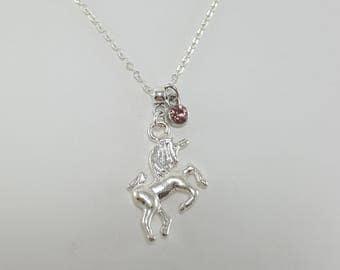 Unicorn Necklace, Silver Unicorn Necklace, Unicorn Jewelry, Birthstone Jewelry