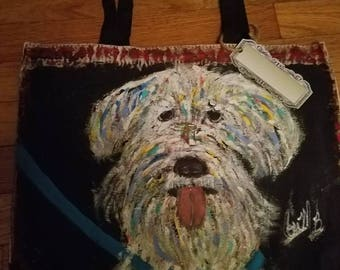 Hand-painted  canvas bag