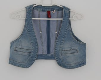 Blue Denim Waistcoat Women Short Cropped Fitted Rocker Romantic Country Small Size S Vest Cotton
