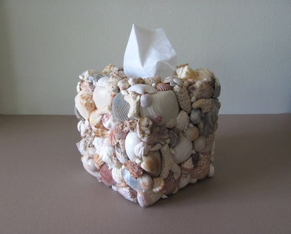 Beach Bathroom, Shell Tissue Box, Seashell Tissue Box, Coastal Bath Decor, Seashell Kleenex Box, Coastal Tissue Box, Coastal Bath