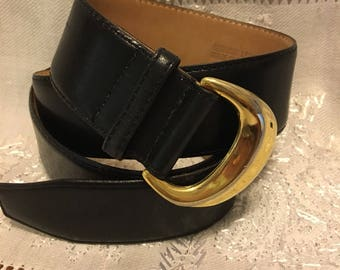 "Ritz Collection Belt. Gold buckle with Black leather 38"" long"