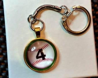 Baseball Keychain or Necklace, Player no., gold or silver bezel /glass cabochon, silver snake chain attachment FREE SHIPPING