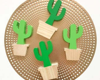 Cactus wooden decor