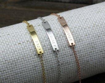 Same Day shipping,Hebrew Name bracelet,Hebrew Letters bracelet,silver Custom,Hebrew Jewelry,Rose Gold,Personalized Hebrew Bar,baptism,faith