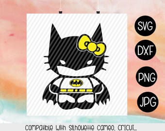 Hello Kitty Batman SVG, Bat Kitty Svg, decal, monogram, Dxf, Png, Silhouette, Cricut, Iron On Images, Transfer Paper, Cut files, sublimation