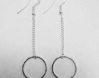 Handmade   Sterling silver   Hammered circle & chain drop dangle statement earrings   Modern   Minimalist