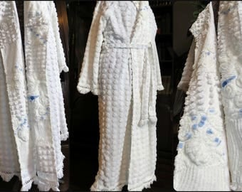 Teenage Sweethearts Chenille Robe ~ Handmade Bathrobe from Fresh White Chenille Bedspreads with Quilt-Style Facings ~ Fits up to 1X