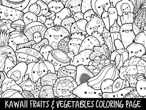 kawaii fruit coloring pages | Fruits & Vegetables Doodle Coloring Page Printable
