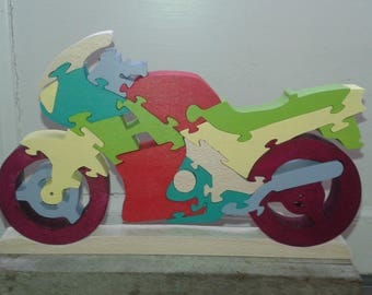 Motorcycle solid wooden puzzle for children 5 years and up