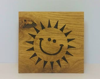 oak sign - oak plaque - personalised - sun - rustic wall art - room decor  - christmas present - house warming -
