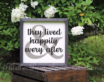 Happily Ever After wood sign, wedding gift, anniversary gift