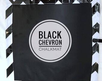 Black square Chevron Design roll up chalk mat, roll up chalk mat, blackboard mat, travel toy
