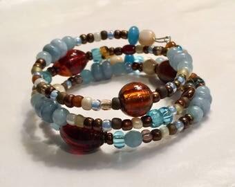 Memory Wire Bracelet Charm Bracelet Blue Brown Women's Gift