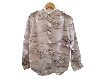 Vintage SHIRT//vintage print//gift for women//vintage clothing//vintage woman//blouse//1980s//1990s//vintage//Dogs