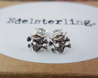 925 Sterling Silver Pirate Skull Stud Earrings, Skull Earrings, Skull Stud, Skull Jewelry, Pirate Earrings, Pirate Jewelry, Pirate Studs