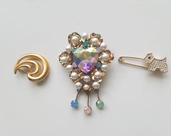 Unique and Very Retro! 1970's/1980's Brooches and Pins - Gold SeaShell - Gold Pin with Rhinestone Crystal Dog - Large Pearl and Heart Pin