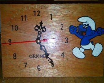 Wooden Clock featuring Smurf.