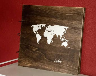 Wood Travel/Explore scrapbook, journal