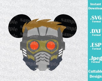 INSTANT DOWNLOAD SVG Disney Inspired Star-Lord Guardians of the Galaxy Mickey Ears Cutting Svg, Esp, Dxf, Jpeg Files Cricut Silhouette