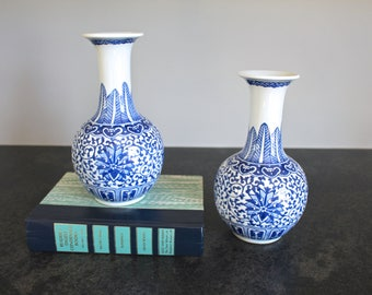 Blue and White Chinoiserie Vases, Pair