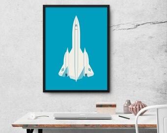 SR-71 Blackbird Supersonic Jet Aircraft Poster Art Print