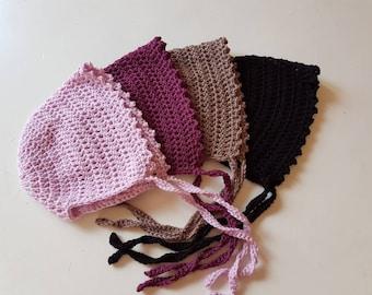 Baby bonnet, Merinowool bonnet, Crochet bonnet
