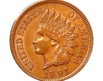 1891 Indian Head Cent - AU / BU - 3 Diamonds