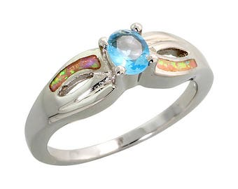 Sterling Silver Pink Opal Solitaire Ring Blue Topaz CZ Accent