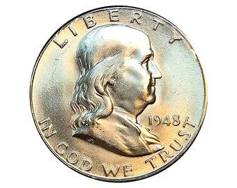 1948 D Franklin Half Dollar - Choice BU / MS / Unc