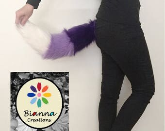 Bianna Tricolor Gradual Shade Purple Faux Fur Tail, Striped Lavender Ivory, Cosplay Anime Rave Party Costume Gear, Furry Fuzzy Accessory
