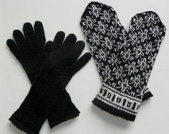 Patterned mittens and gloves set Knitted mittens and gloves Hand knit mittens and gloves Women mittens and gloves Winter mittens and gloves