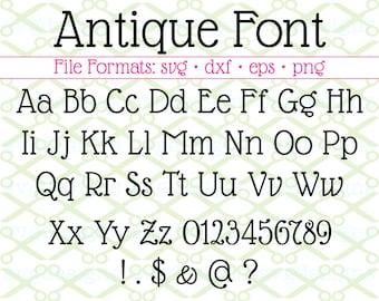 Antique Font Svg, Dxf, Eps, PNG; Antique Print Letters, Serif SVG, Serif Font for Cricut & Silhouette, Includes  bonus installable TTF file.