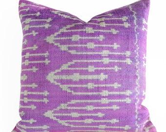 Handwoven pillow Velvet Pillow Purple Ivory Pillow Cover Purple Velvet Pillow Purple Ikat Pillow Ikat Pillow Cover Decorative Pillow