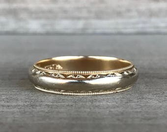 Heavy 14k two tone vintage band size 11.5