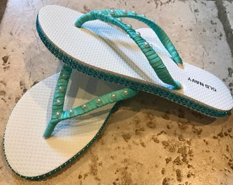 Tiffany Inspired flip flops