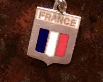 France vintage sterling silver enamel flag travel shield charm necklace pendant or keychain charm