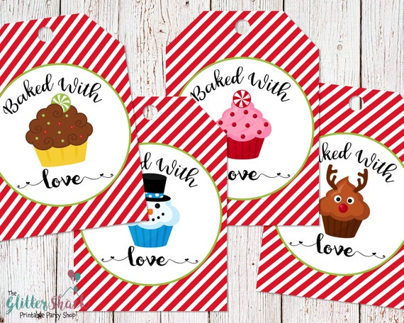 Printable Baked With Love Christmas Cupcakes Gift Tags