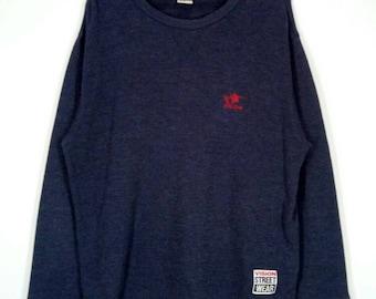 Rare!! VISION STREET WEAR sweatshirt spellout pullover jumper crew neck embroidery skateboard skater dark grey colour medium size