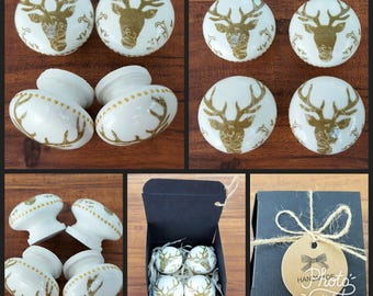 Set of 4 Hand Decorated Gold Stag Deer Wooden Drawer Knobs Pulls