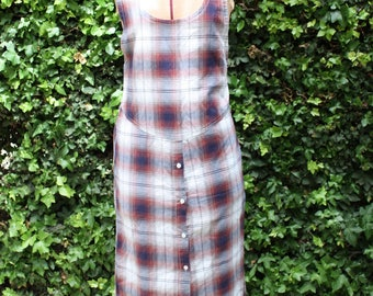 90s Grunge Plaid Maxie Button Down Dress