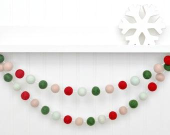 Christmas Tree Decor, Christmas Banner, Holiday Felt Ball Garland, Red and Green Pom Pom Garland, Mint Christmas Bunting, Holiday Bunting